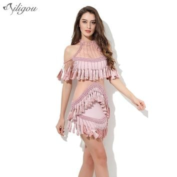 Ailigou 2017 New Women Evening Party Dresses Pink Luxury Beading off shoulder Tassel mesh short sleeve Celebrity Runway Dress