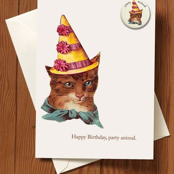 Party Animal Cat Greeting Card with Button