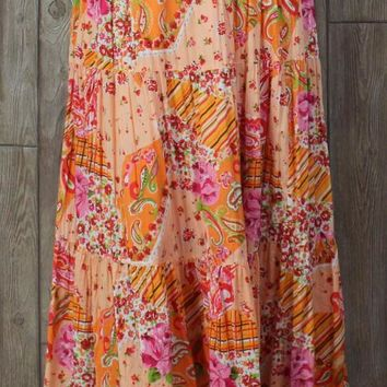 Fun Krazy Kat Skirt XXL 1x 2x size Orange Cotton Floral Boho Hippy Prairie