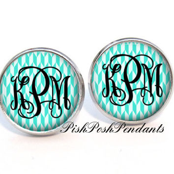 Tiffany Blue Geometric Monogram Earring, Monogram Stud Earrings, Monogram Jewelry (486)
