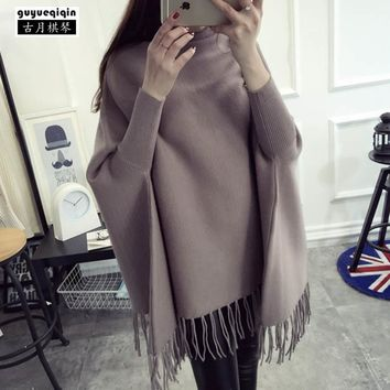 Fashion Tassel Ponchos and Capes For Women Batwing Sleeve Turtleneck Sweater Cloak Cape Coat Poncho Overcoat 7 Color Free Size