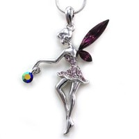 Adorable Lavender Purle Dress Angel Fairy Wings Charm Pendant Necklace Green Crystals Silver Tone Girls Teens Fashion Jewelry: Jewelry