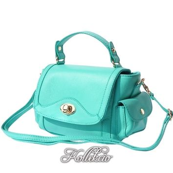 Small Italian Genuine Leather Turquoise Blue Handbag with Shoulder Strap