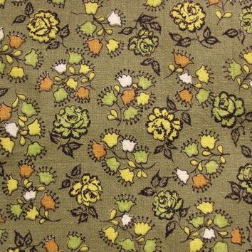 "Vintage 1960s Floral Fabric Tiny Print Green Orange Yellow Flowers Sewing Fabric 35"" wide"