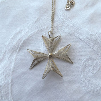 "Vintage Maltese Cross Necklace, Sterling Cannetille, Silver Filigree Cross, 17"" Chain"
