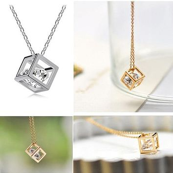 Fashion Women Romantic Rhinestone Crystal Cube-Shaped Pendant Necklace Chain Necklace