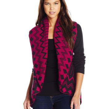 Long Sleeve Open Front Shawl Collar Cardigan with Aztec Jacquard