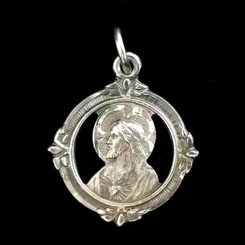 Sterling Sacred Heart with Madonna & Child Pendant