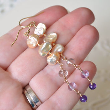 Long Ametrine Earrings, Champagne Keshi Pearl, Taupe Lavender Purple Gemstones, Gold Filled Jewelry, Free Shipping