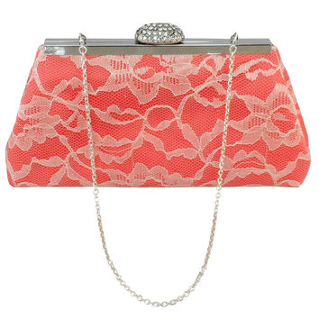 Calypso Coral and Ivory Bridal Clutch