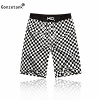 Gonzetank 2017 Summer Men High Waisted Loose Beach Bermuda Casual Sweat Jogger Cargo Black and White Couple Shorts Size L-XXL