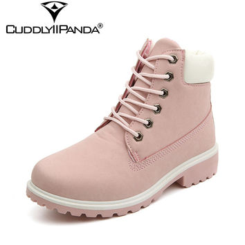2017 Spring Summer New Pink Boots Suede Women Ankle Boots Camouflage Leisue Martin Boots Big Size Boots Botas Mujer