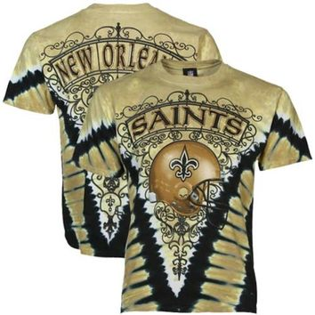 New Orleans Saints Tie-Dye Premium T-shirt - Gold/Black