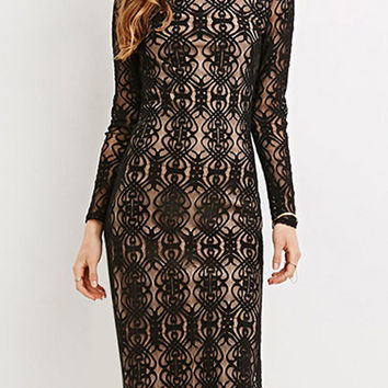 Black High Neck Contrast Lined Midi Lace Dress