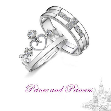 Fashion Prince & Princess Sterling Silver Charming Fashion Couple Crown Rings