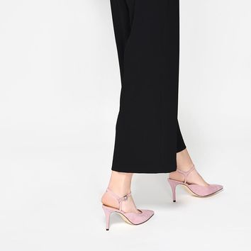 Pink Pointed Ankle-Strap Heels | CHARLES & KEITH