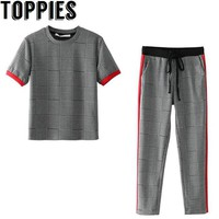 Toppies Women 2018 O-neck Jaquard T-shirt Side Striped Patchwork Plaid Harem Pants Women Causal Chic Clothing Suits