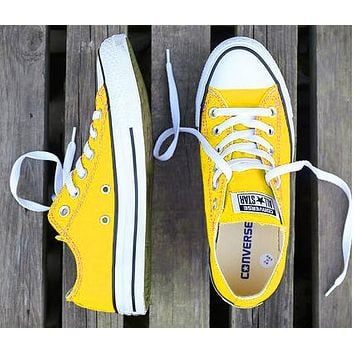 Converse Fashion Women Men Casual Canvas Flats Sneakers Sport Shoes Yellow