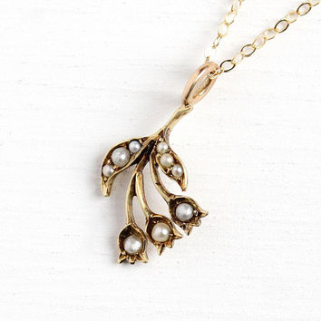 Antique Flower Necklace - Vintage Edwardian 14k Rosy Yellow Gold Stick Pin Conversion Pendant - Seed Pearls Floral Tulips Romantic Jewelry