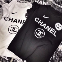 Chanel Trending Casual Print Short Sleeve Round Neck Pullover Tee Tops T-Shirt Black