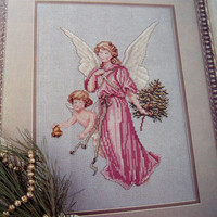 Angel of Joy counted cross stitch pattern from OOP Leisure Arts magazine