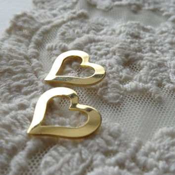 5- Golden Heart Charms Flat Double Sided Heart Shaped Floating Charms Diy Jewelry Making Supplies