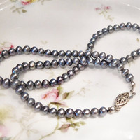 Genuine Silver Pearls Pearl Necklace Choker Grey Gray Pearls Strand Bead Beaded Necklace Vintage Pearls Sterling Silver Fish Hook Clasp
