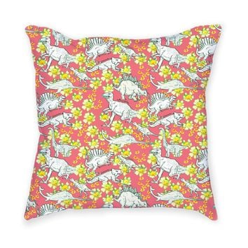 So into this design on Fab! Dino Flower Throw Pillow #FabForAll