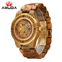 New Amuda Mechanical Brand Men Automatic Self-Wind Skeleton Watches Male Luxury Fashion Clock Style Brown Gold Color Wooden Band