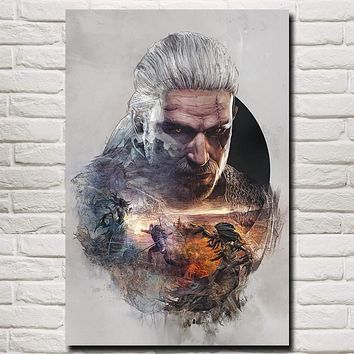 The Witcher 3: Wild Hunt Geralt of Rivia4 Art Silk Poster Home Decor Printing 12x18 16X24 20x30 24x36 Inches Free Shipping