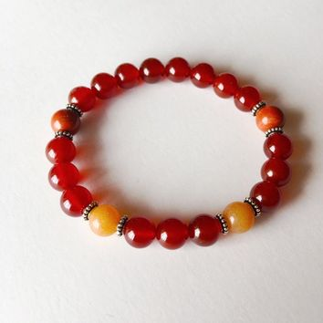 The Sacral Chakra - Genuine Carnelian, Red Aventurine & Red Jasper Sterling Silver Bracelet w/ Sterling Silver Accents