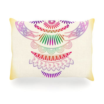"Famenxt ""Decorative Ornament"" Yellow Multicolor Oblong Pillow"