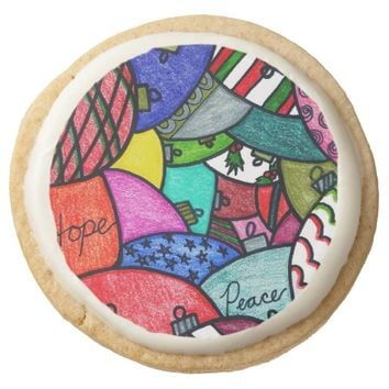 Adorning Ornaments Round Shortbread Cookie