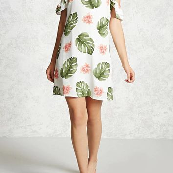 White Floral Ruffle Spaghetti Strap Off Shoulder Zipper Backless Homecoming Party Mini Dress