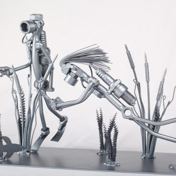 Diving family - Metaldiorama Metal Art Sculpture
