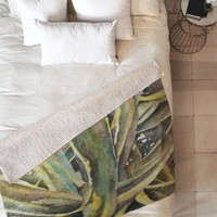 Rosie Brown Tropical Greens Fleece Throw Blanket