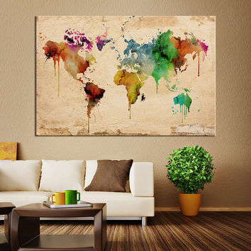 Watercolor World Map with Old Paper Canvas Wall Art, Home Decor, No:054