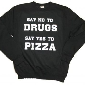 21 Century Clothing Unisex-Adult Pizza not Drugs Sweater Small Black