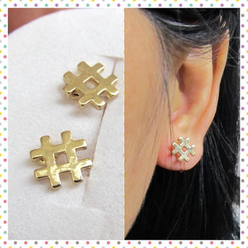 Small # Hashtag Clip on Earring, C44s, Number Symbol Non Pierced earring, Gold plate invisible clip on stud, better than magnetic earring
