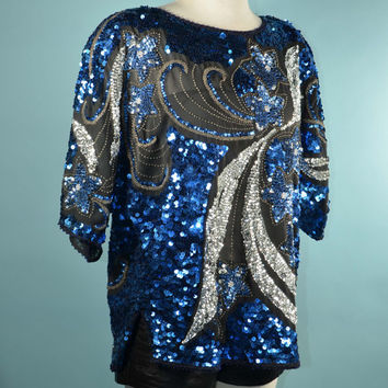 Vintage 80s Sparkle Top Sequins Beads Stars/Glam Rock Grunge Club Kid Rave Party Top/Celestial Party Girl Roller Disco Clubbing Top S/M