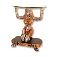 Kneeling Egyptian Female Table Without Glass