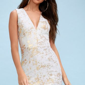 Cody Gold and White Sequin Bodycon Dress