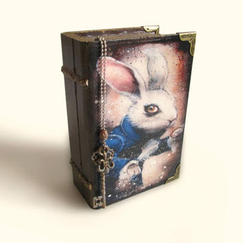 White Rabbit Book Box Alice in Wonderland Trinket Box Jewelry Box Alice's Adventures Gift Alice Decoupage Box Alice in Wonderland Decor