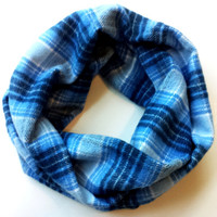 Baby Blues Plaid Flannel Toddler Scarf Kids Plaid Infinity Scarves for Babies Baby Girl or Baby Boy Fall Scarf Kids Scarves Childrens