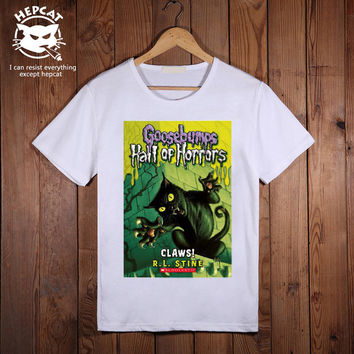 Goosebumps Tshirt, Hall of Horror Mens T-Shirt, Screenprint Custom Tees, Personalized Image Top Tee shirt, Unisex Size S M L XL XXL