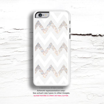 iPhone 6 Plus Case, iPhone 5C Case Nude Chevron, iPhone 5s Case Geometric, Gray White Chevron iPhone 6 Plus  Case (NOT REAL GLITTER) C6