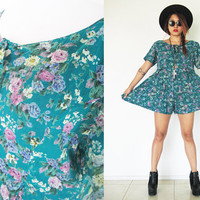 Vintage 80's 90's dark green grunge romper jumpsuit playsuit floral flower  pleated wrinkled mini dress babydoll summer festival