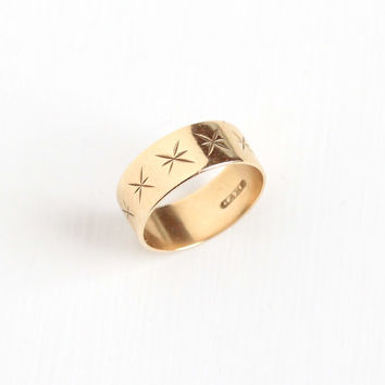 Antique Victorian 14k Yellow Gold Star Incised Ring - Size 5 Vintage Late 1800s Thick Cigar Style Fine Flower Wedding Band Jewelry