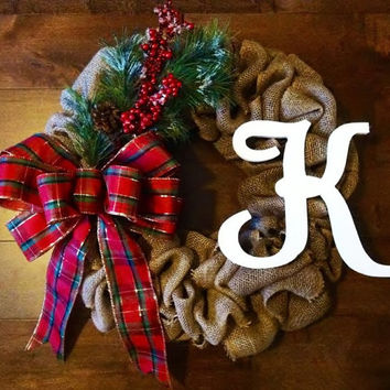 Christmas Wreath, Burlap Wreath, Holiday Wreath, Plaid Wreath, Personalized, Front Door Decor