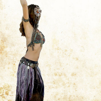Tribal Coin Belly Dance Headpiece, Lace Tribal Fusion Headdress